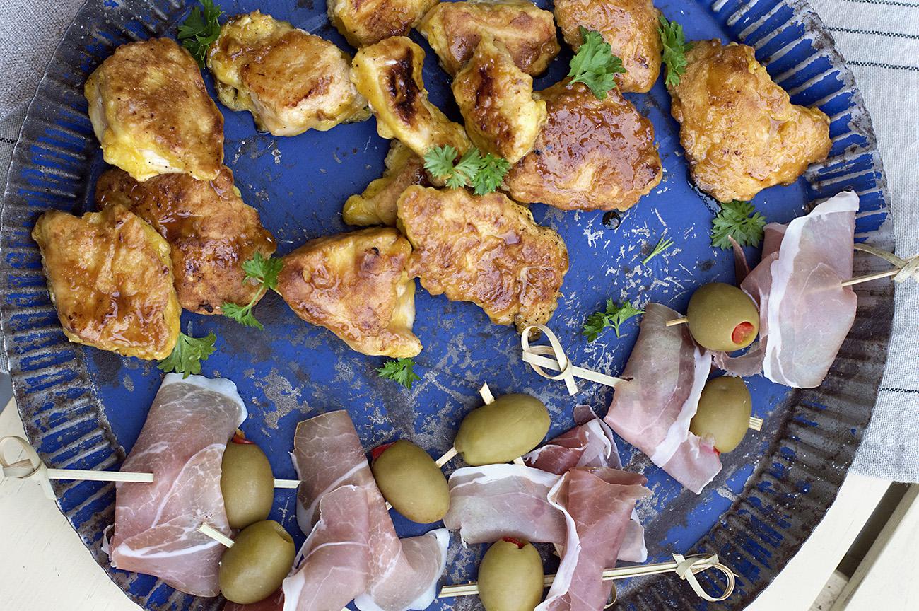 kyllingbiter-med-honning-og-sennep