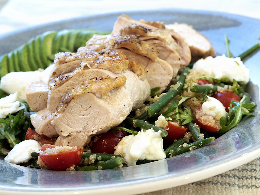stekt-kylling-med-bønner-og-quinoa
