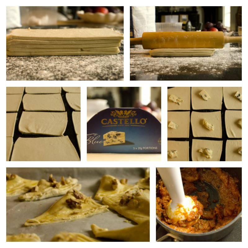 Blåmuggostfylte butterdeigstrekanter