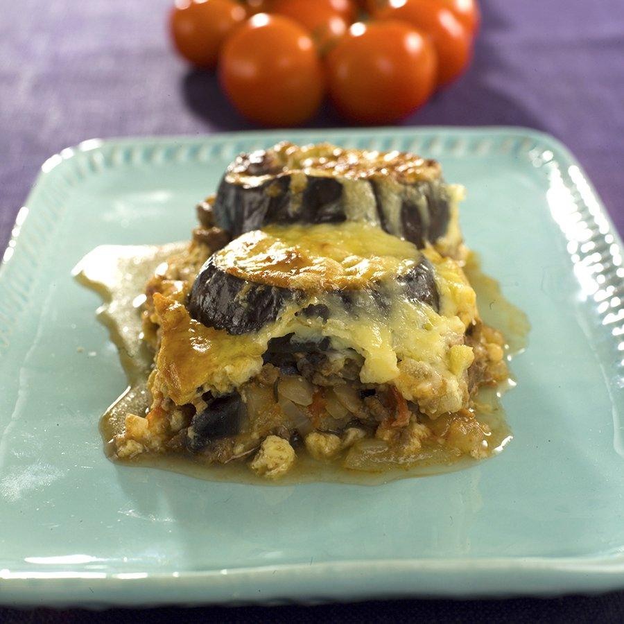 Moussaka med kjøttdeig og auberginer