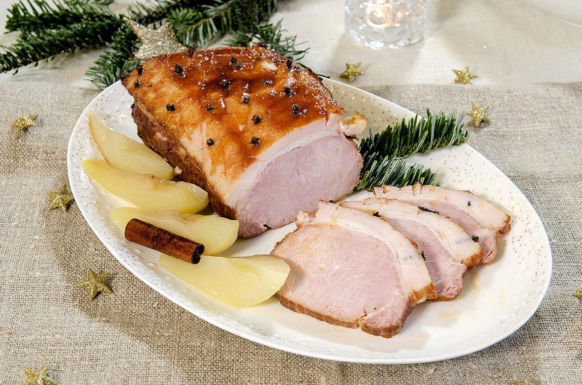 Ciderkokt juleskinke med pærer