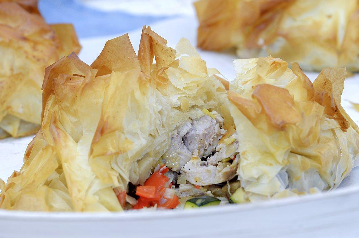 Minipaier med kylling og grønnsaker