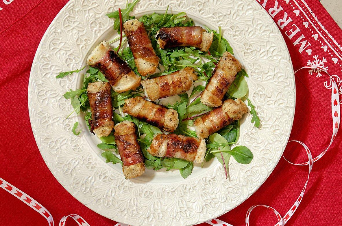 Bacon- og brødruller med kremost