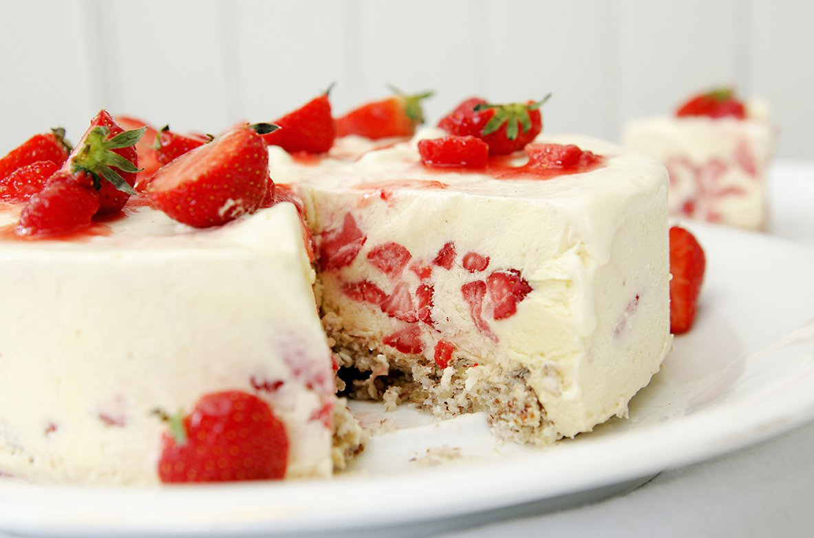 iskake med jordbær