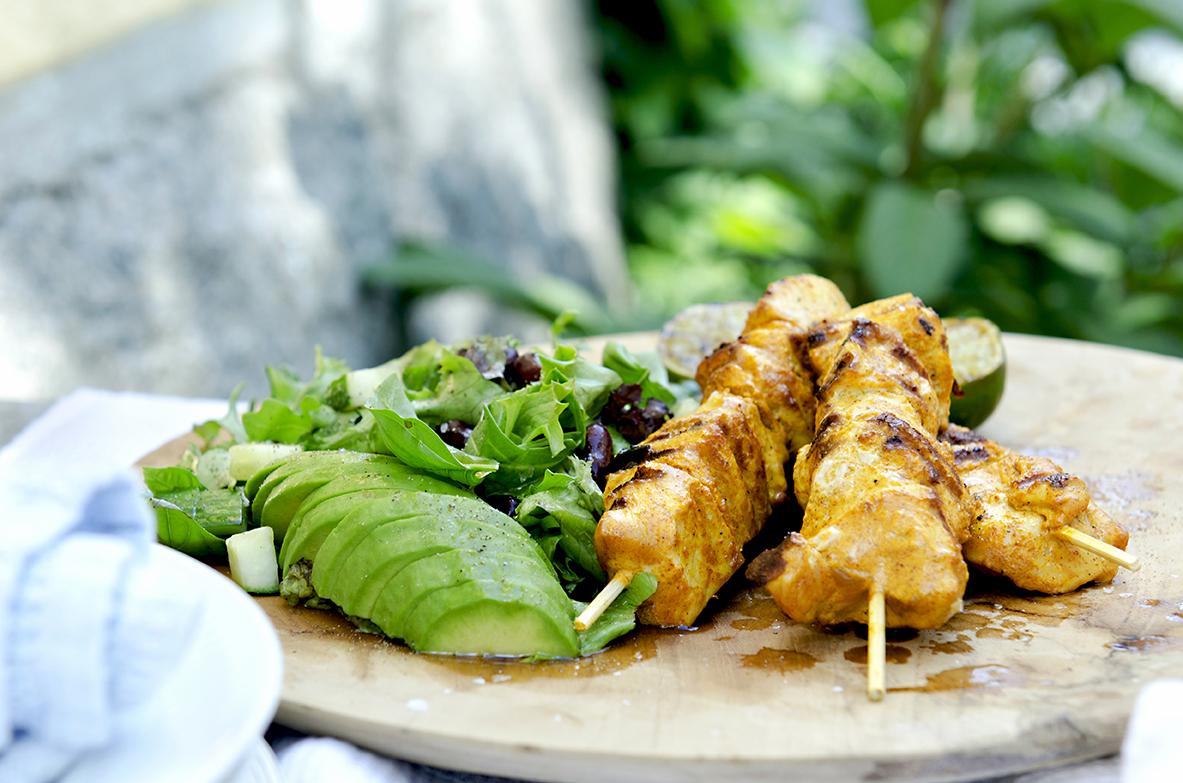 grillede kyllingspyd