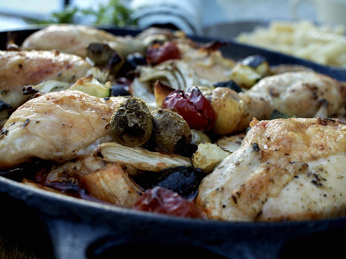 kylling med squash og oliven