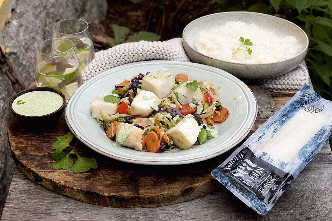 torsk med grønnsaker og persillesaus