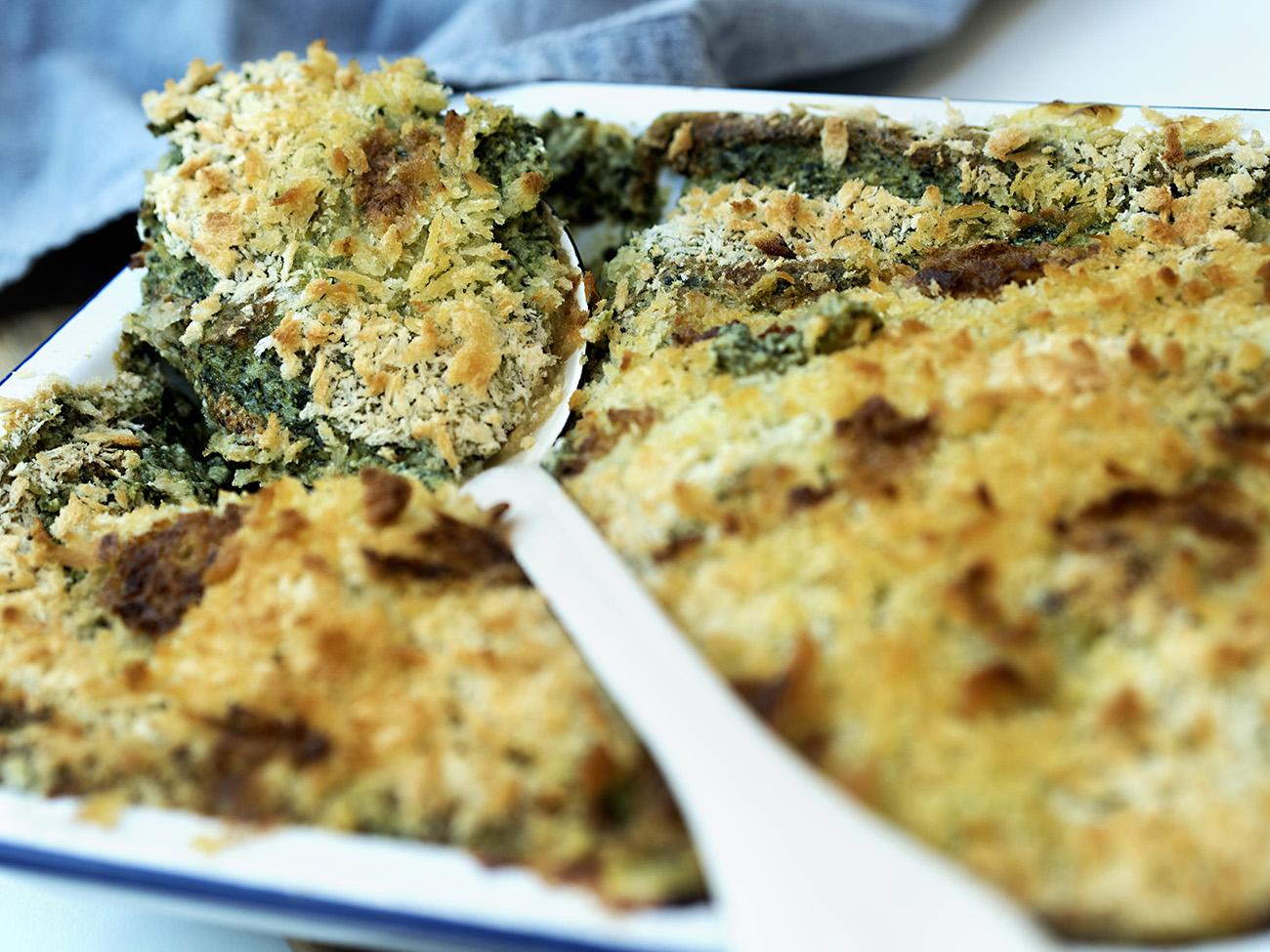 fiskegrateng med laks og spinat 2