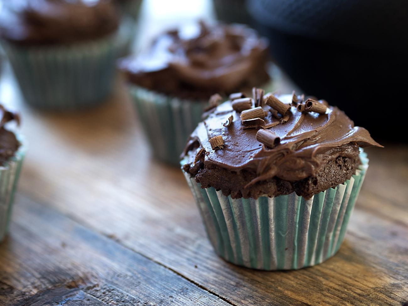 sjokoladecupcake med sjokoladeglasur