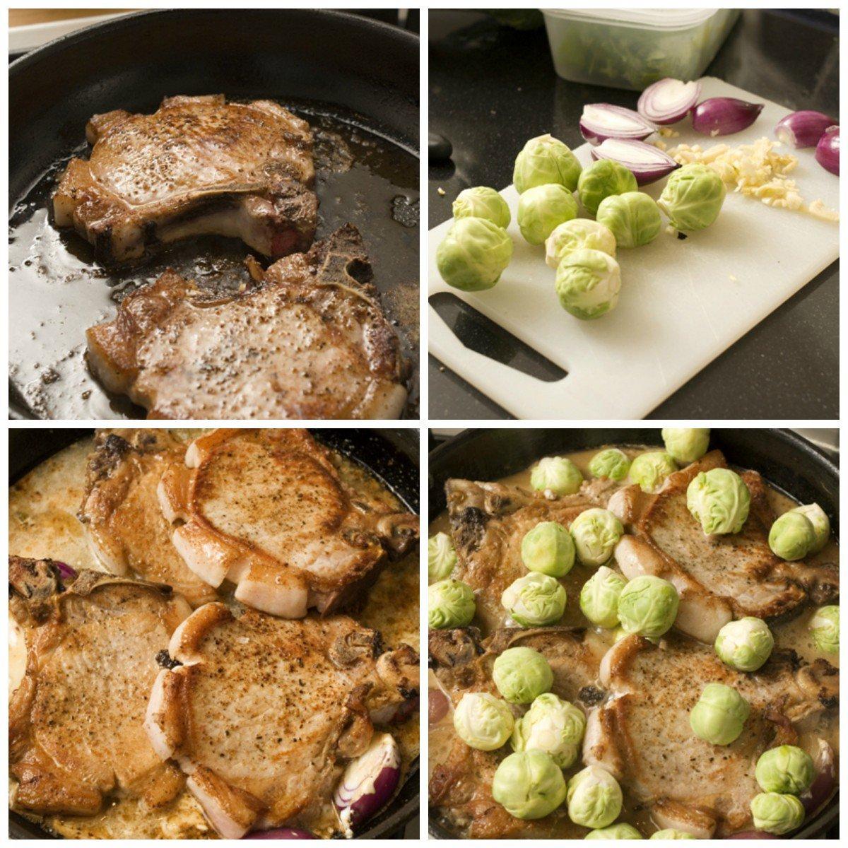 Koteletter med saus og grønnsaker