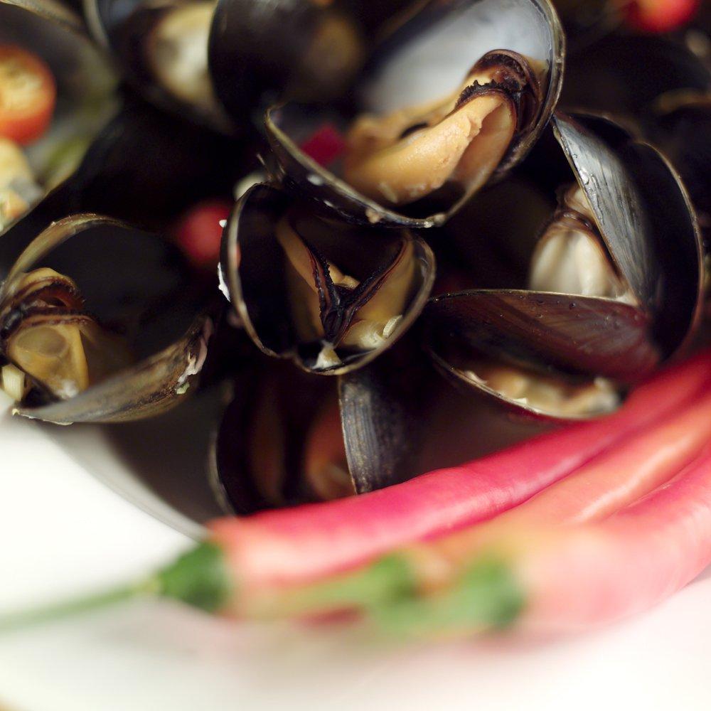Fete blåskjell med chili