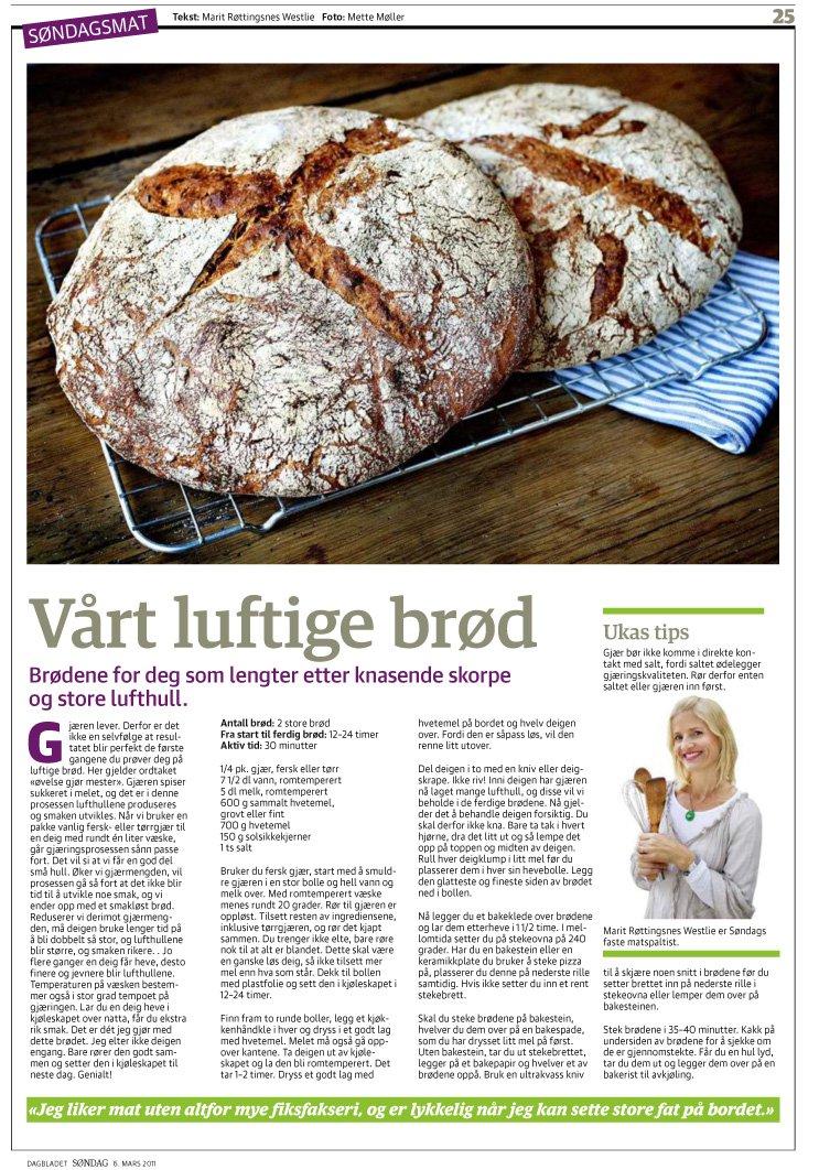 Fru Timians lettvinte brød i Dagbaldet i dag!