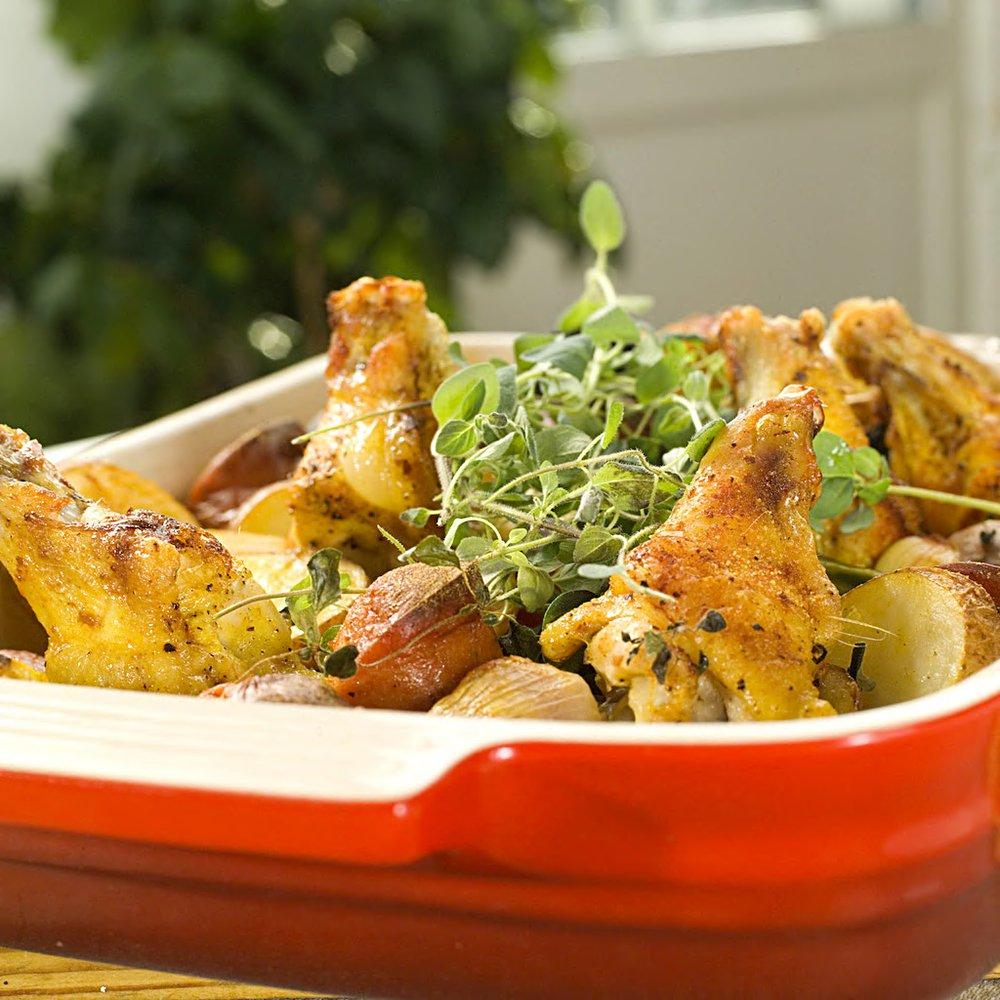 Kylling og pølse i langpanna