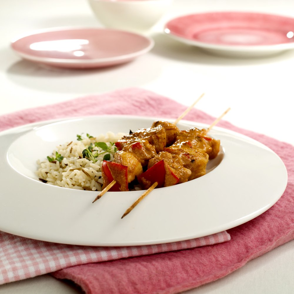 Kinesiske kyllingspyd med ris