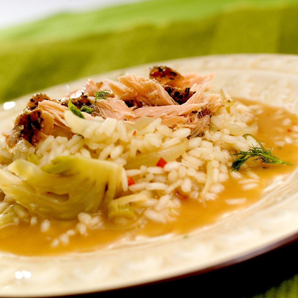 Duftende risotto med laks og fennikel