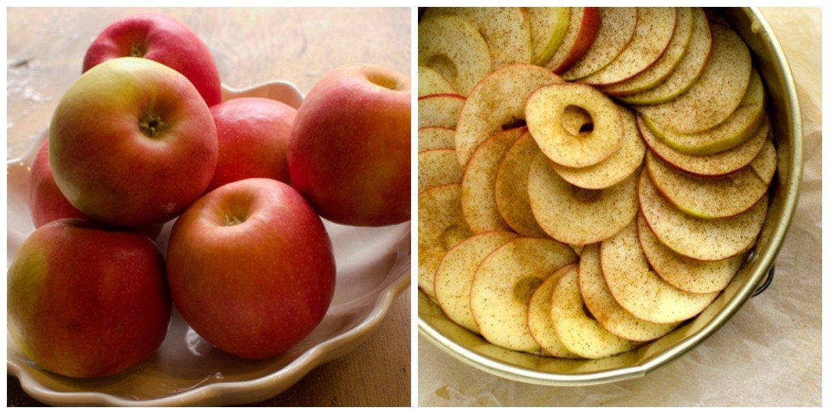 Saftig eplekake med nøttetopping