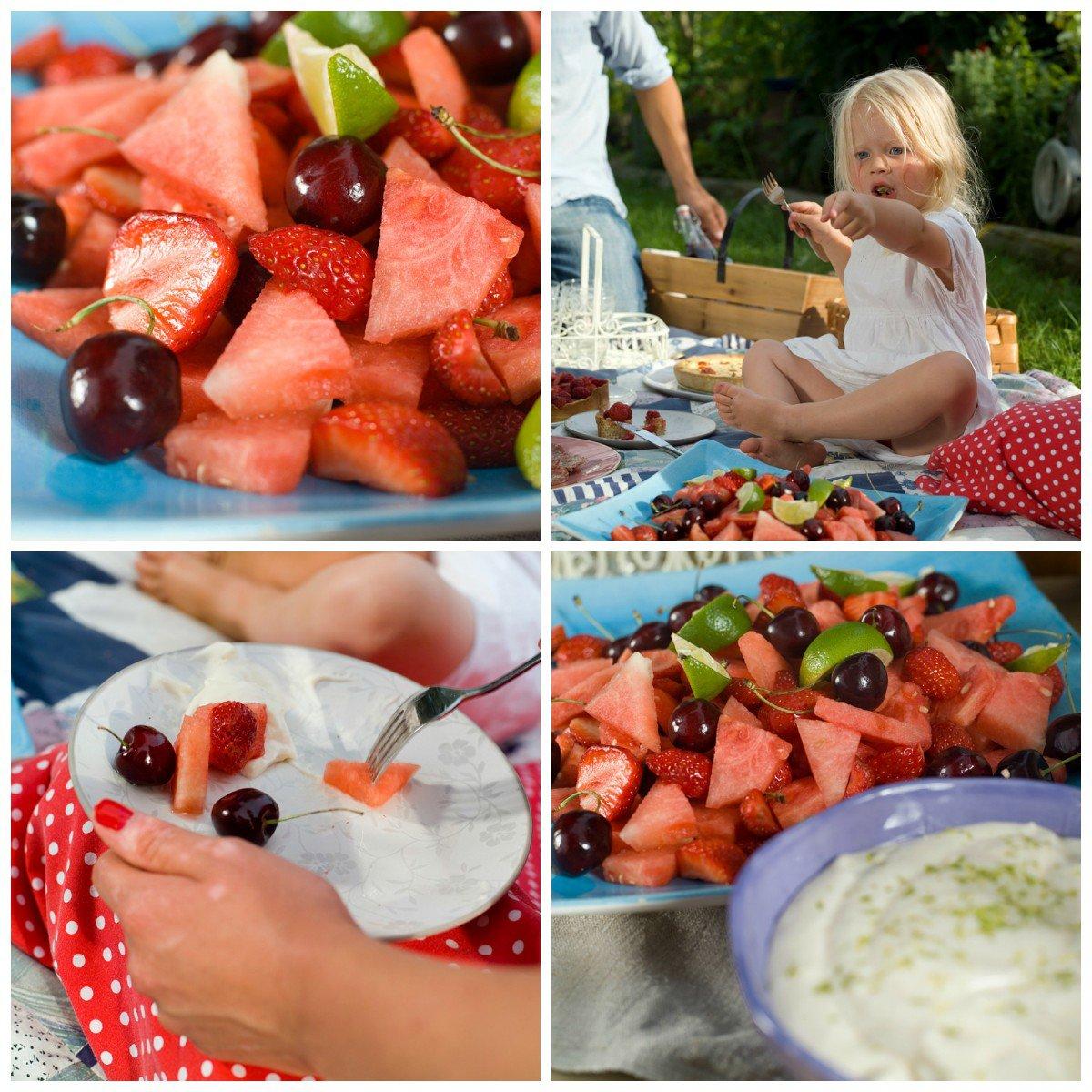 Bærsalat med vannmelon og mascarponekrem
