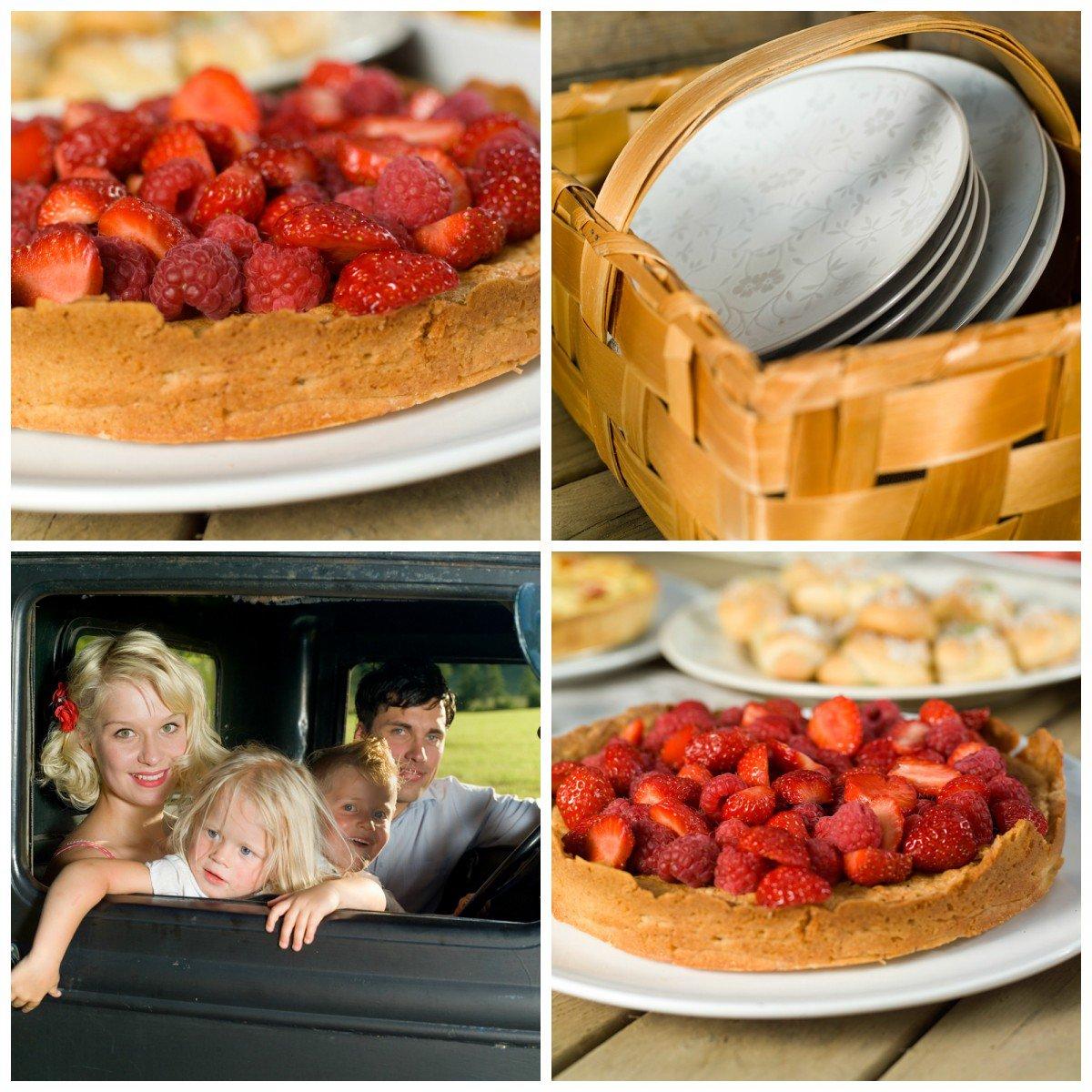 Mandelkake med jordbær og bringebær