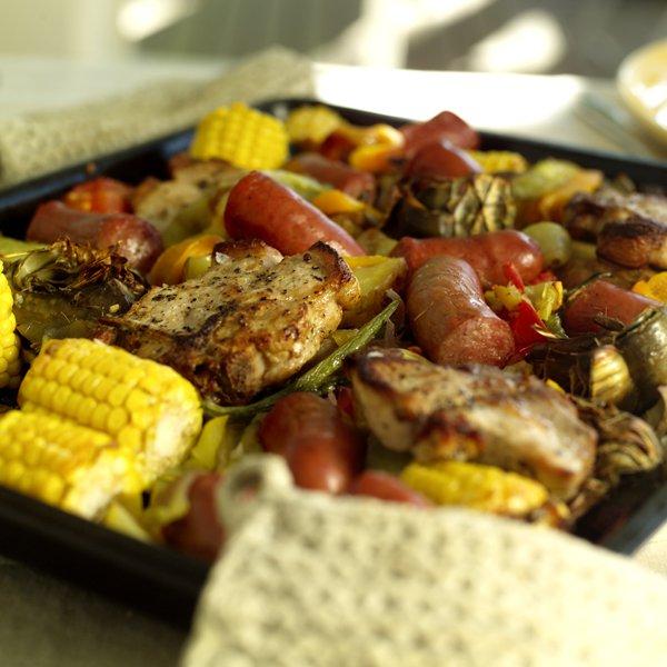 Ovnsbakte grønnsaker og kjøtt