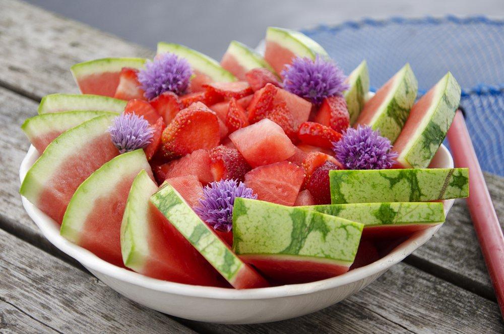 Vannmelon og jordbær