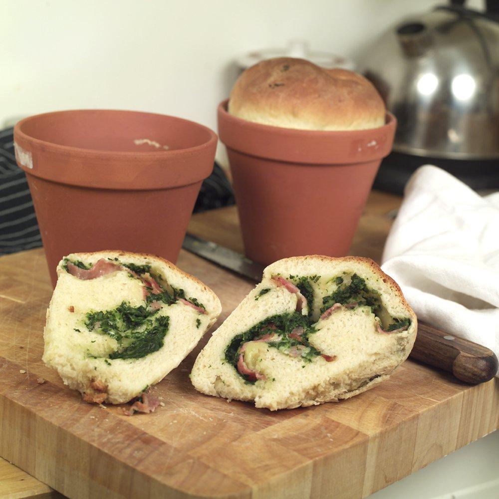 Pottebrød med bacon, ost og spinat
