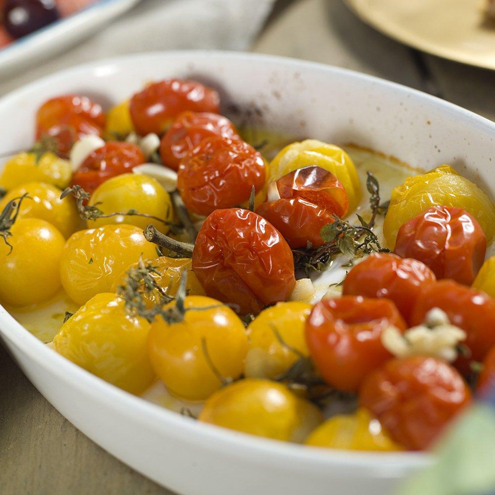 Ovnsbakte tomater og spekemat