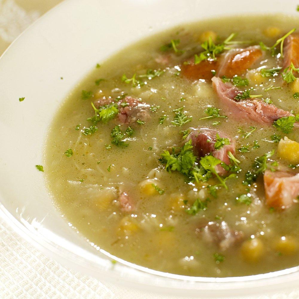 Løksuppe med lettsaltet svineknoke