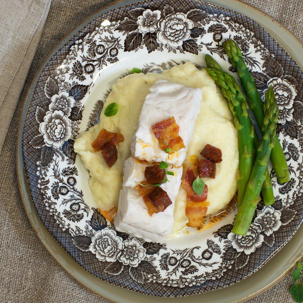 Fisk, bacon og potetstappe! Perfekt middag!