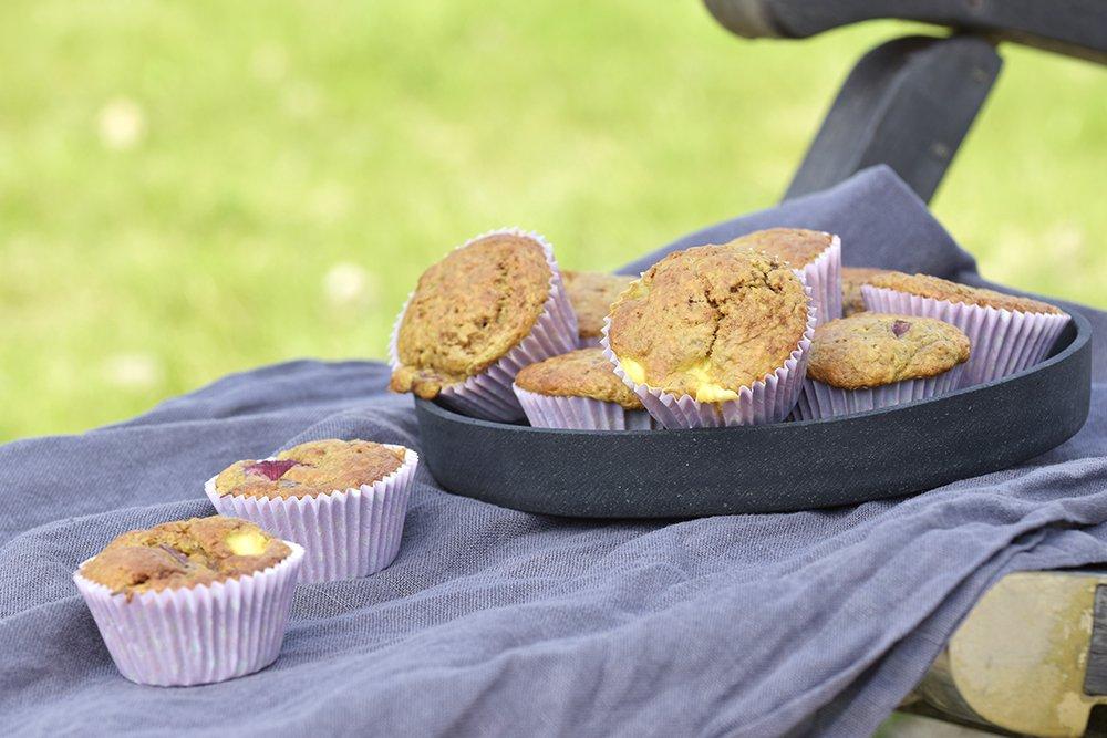 Rabarbramuffins med vaniljefyll