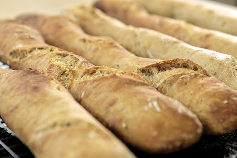 Eltefrie bagetter med hvitløk