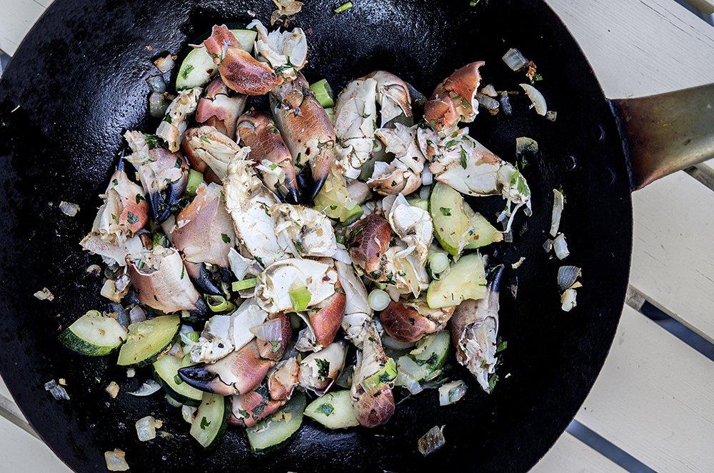 Krabbe og hvitløksmajones