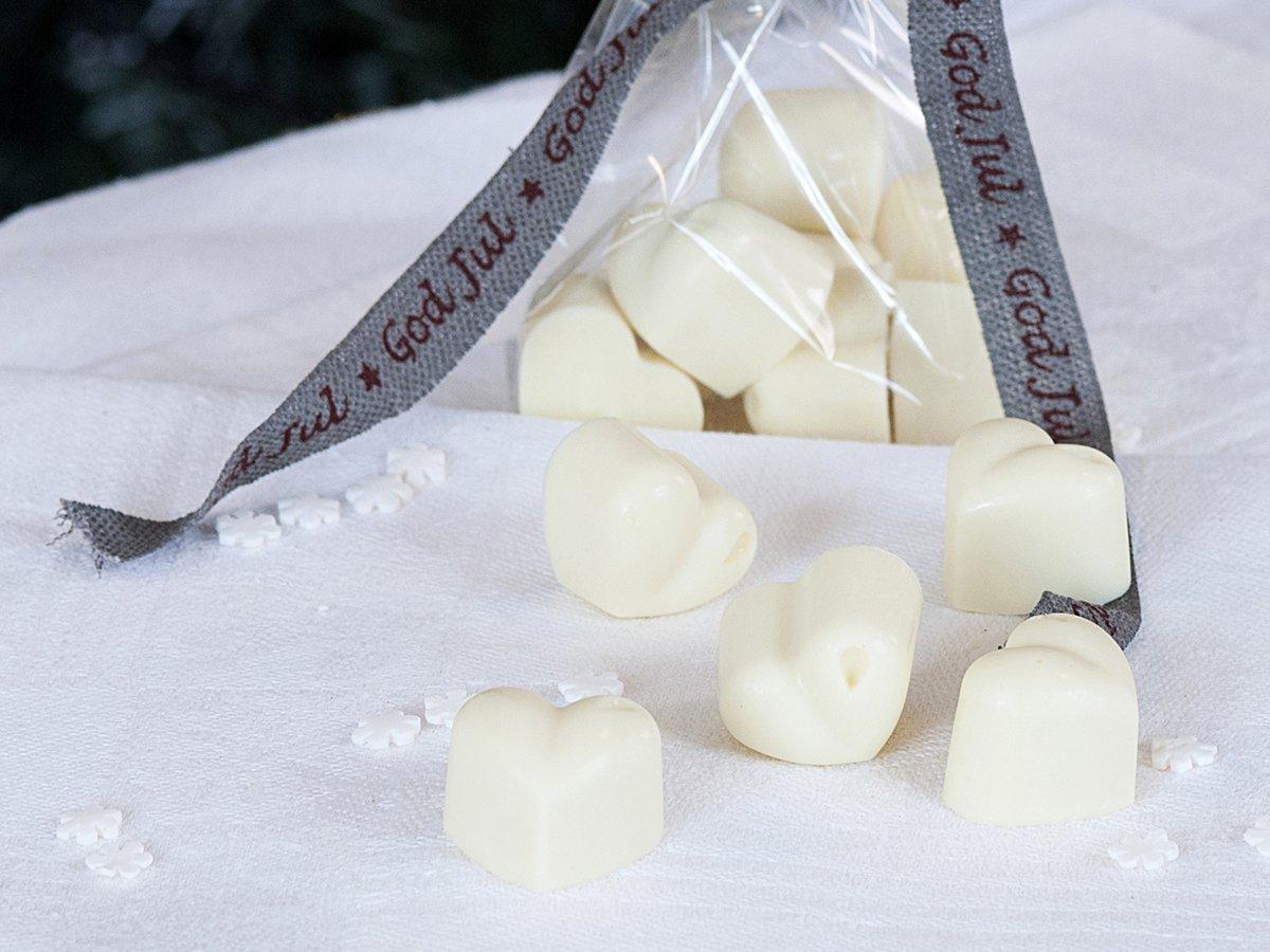 Hvite sjokoladehjerter
