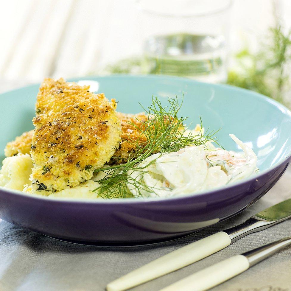Kyllingsnitsel med potetstappe og fennikelsalat