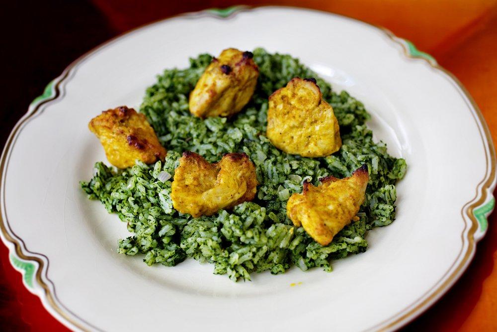 kylling og grønn ris