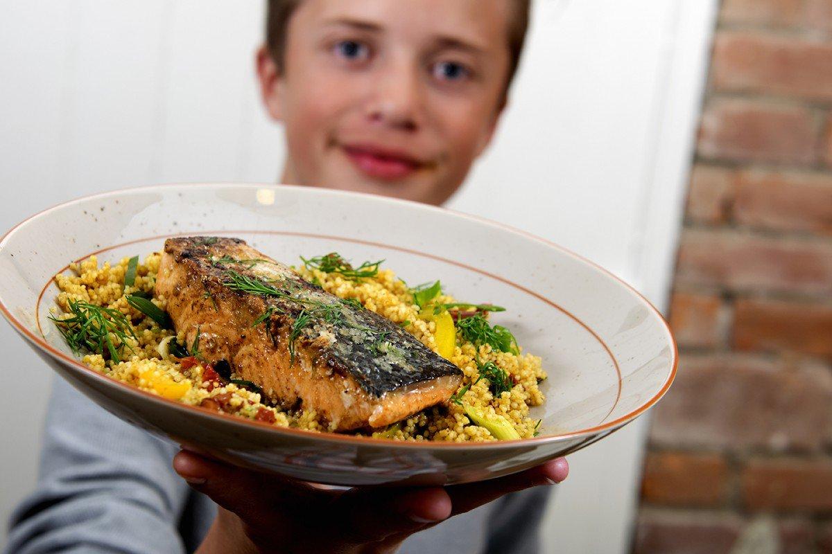 Stekt laks med saftig couscous