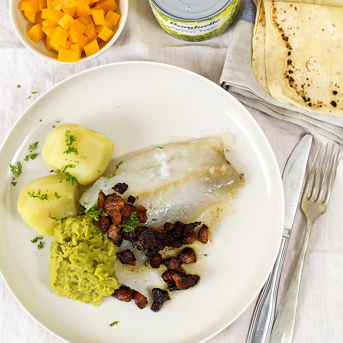 Lutefisk med verdens kjappeste ertestuing!