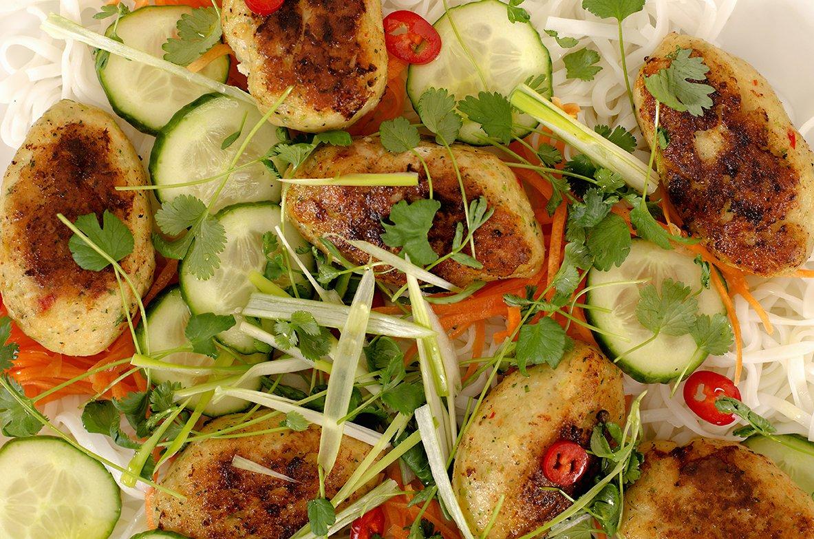 fiskekaker med laks og torsk