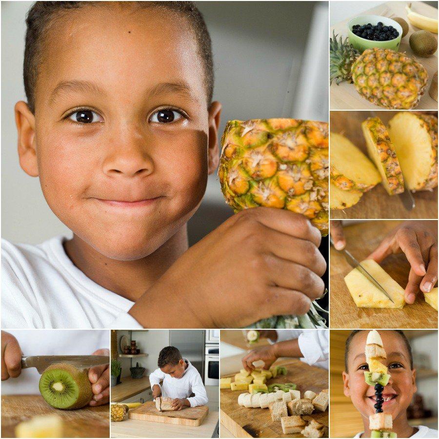 Fruktspyd med brødbiter