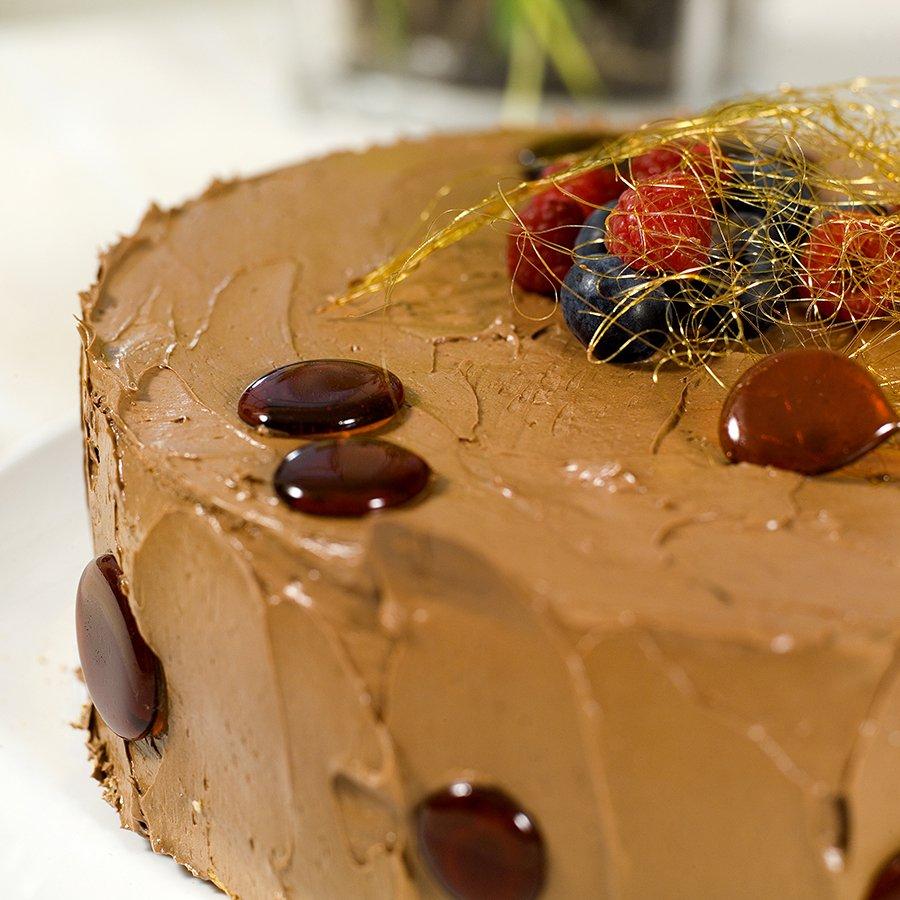 sjokoladekake med sukkerpynt