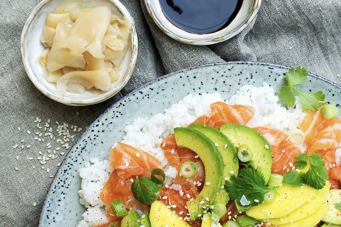 sushisalat og syltet ingefær