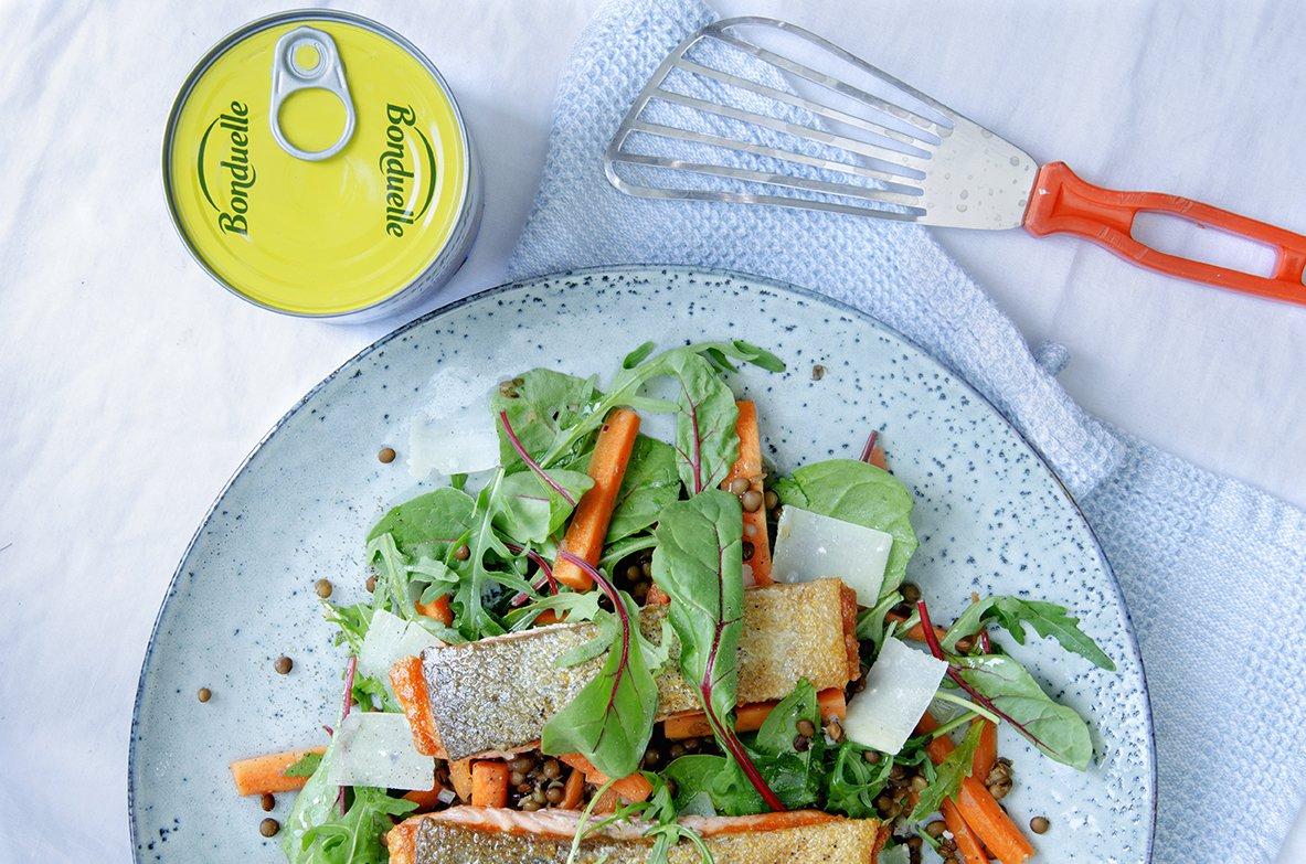 linsesalat og stekt ørret 2