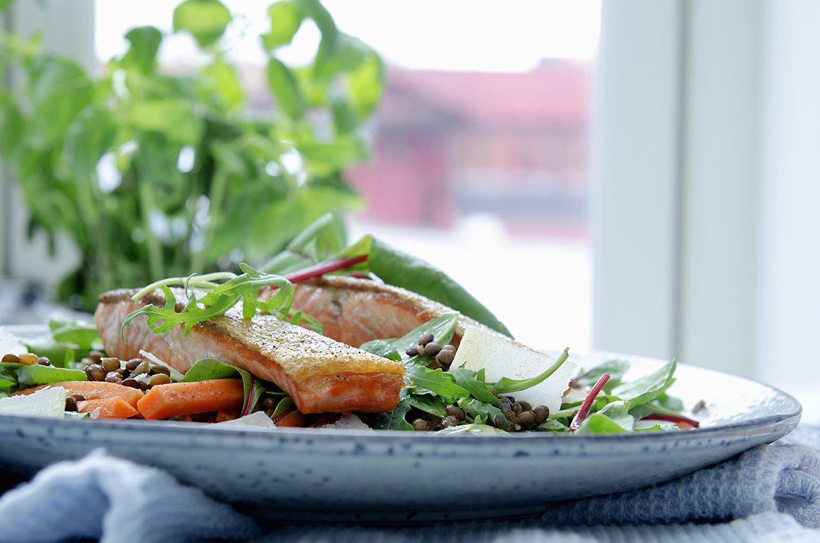 stekt ørret med linsesalat