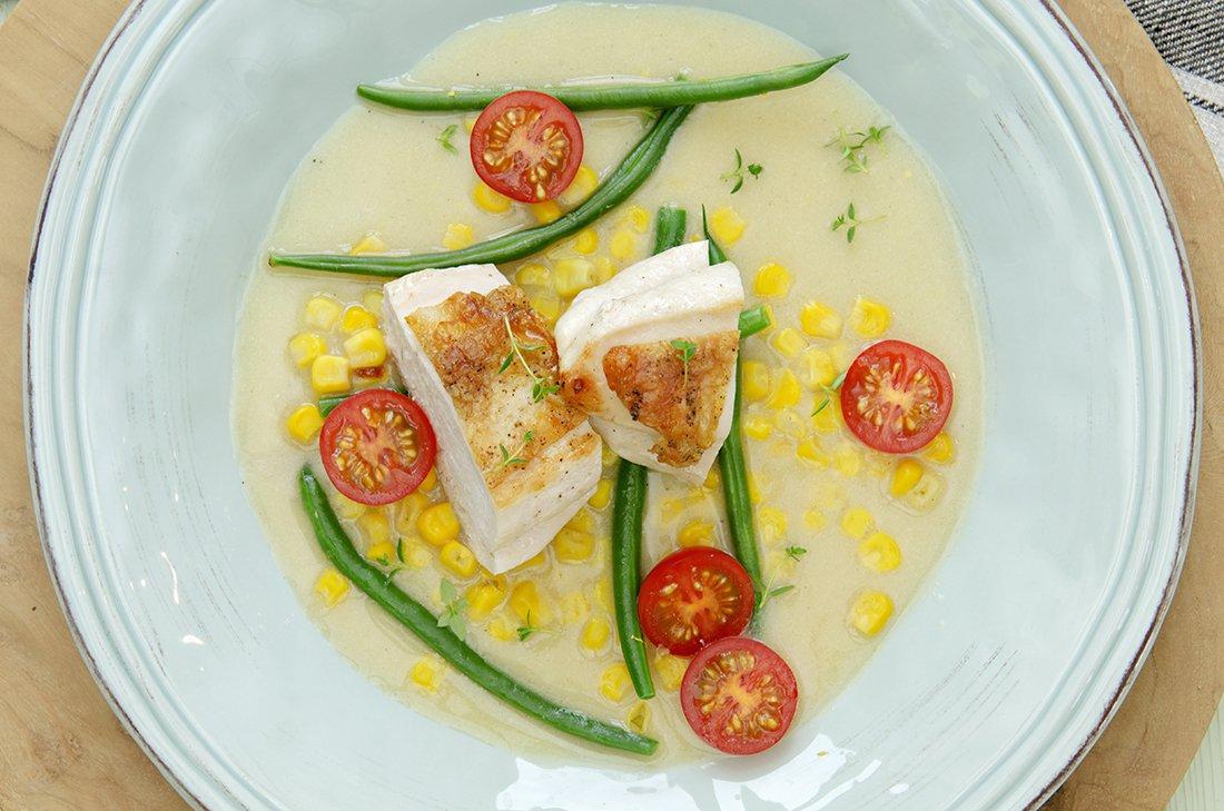 kylling og aspargesbønner