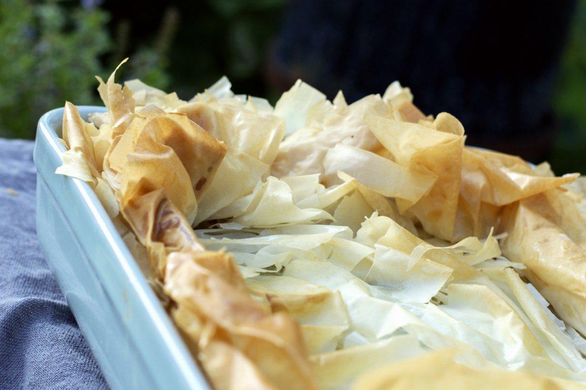 spinatpai med filodeig