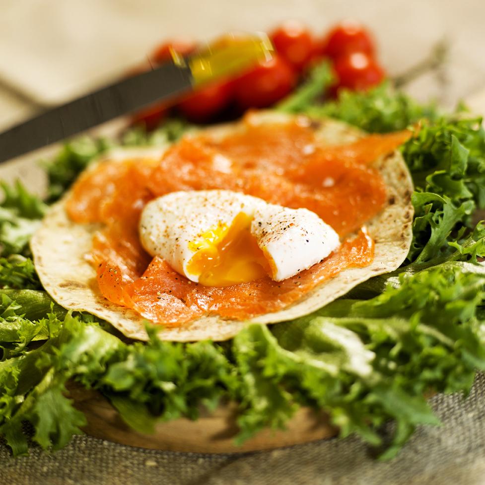 øysteins spesial, buers speltlomper med posjert egg